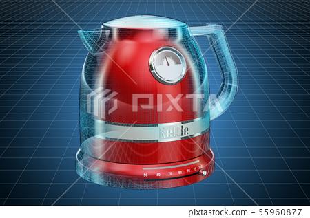 Visualization 3d cad model of electric tea kettle 55960877