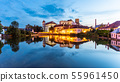 Jindrichuv Hradec Castle by night. Reflection in the water. Czech Republic 55961450