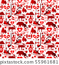 Canada sign and symbol, Info-graphic elements flat icons set in seamless pattern. 55961681