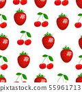 Pattern. Vector drawing cherry and strawberry. 55961713