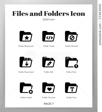 Files and folders icons Solid pack 55963660
