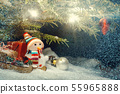 Christmas composition - Christmas tree in the snow, gifts, toy snowman and the inscription Merry 55965888