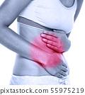 Stomach abdomen pain - woman having abdominal pain 55975219