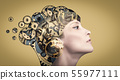 Thinking businesswoman with gear mechanisms on her head 55977111