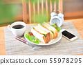 早餐,早上生活方式圖像。三明治,咖啡,智能手機,智能手機,鬧鐘。 55978295