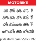 Collection Motorbike Thin Line Icons Set Vector 55979192