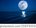 Fantasy night seascape with super moon and flying 55979350