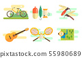 Tourist Equipment Set, Camping and Fishing Elements, Summer Outdoor Activities Vector Illustration 55980689