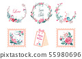 Floral Frame Collection, Wedding Invitation, Save the Date Card, Wreath with Blooming Flowers and 55980696