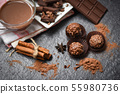Chocolate bar and spice on the dark background / 55980736