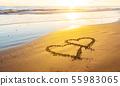 Love, heart on sea beach 55983065