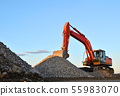 Large tracked excavator works in a gravel pit. 55983070
