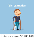 Disabled man on crutches 55983409