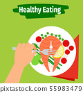 Healthy eating illustration with fish 55983479