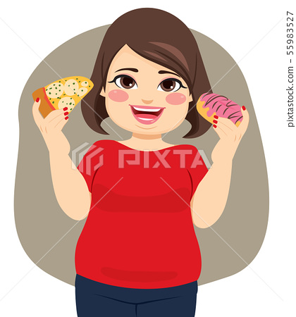 Young happy obese woman enjoying eating pizza 55983527