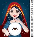 Fortune teller woman using magic crystal ball 55983530