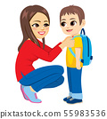 Young mother leads little kid boy first school day 55983536