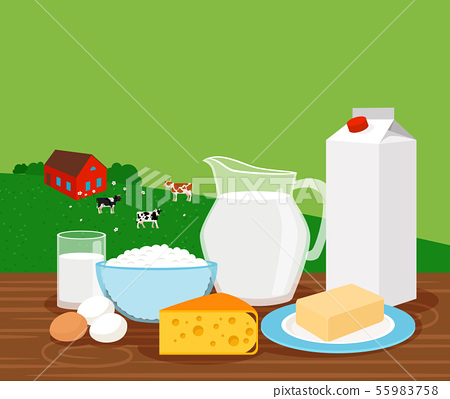 Farm landscape with milk products banner 55983758