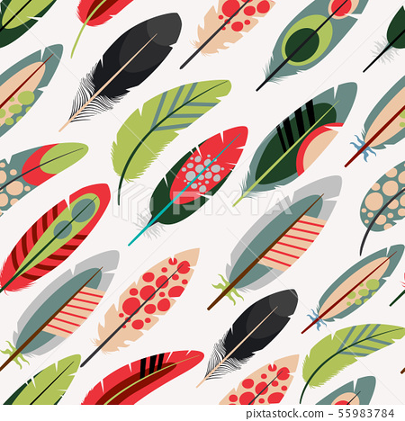 Colorful feathers pattern 55983784