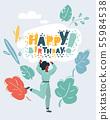 Happy Birthday concept on white. 55984538