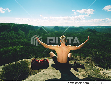 Tall naked man relax for moment on view point. The 55984569