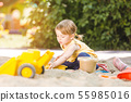 Little girl having lots of fun with her toys playing in the sandbox 55985016