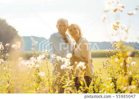 Senior couple on a sunlit meadow embracing each other 55985047