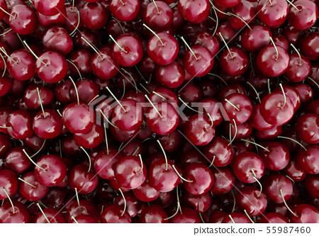 Red Cherries 3d render as background 55987460