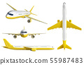 white and yelow airplane set 3d rendering on white 55987483
