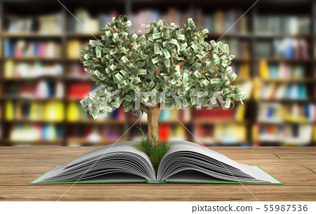 tree growing from book A big open book with tree 55987536
