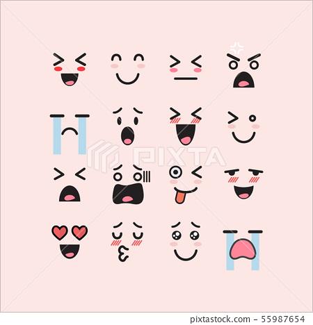 Set of facial emoticons 55987654