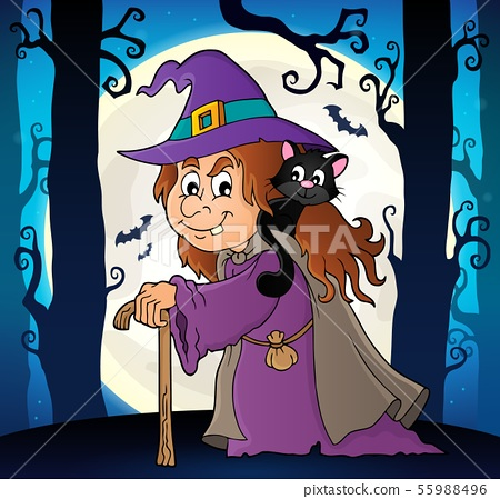 Witch with cat topic image 6 55988496