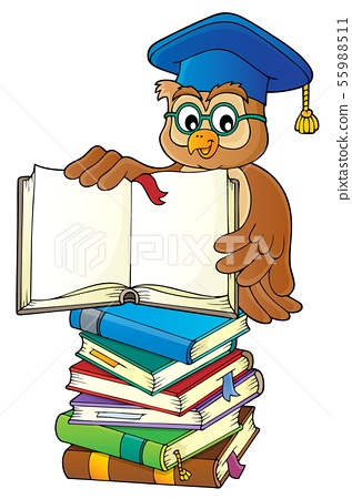 Owl teacher with open book theme image 3 55988511