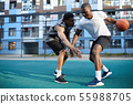 Two African-American Men Playing Basketball 55988705