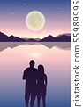 romantic night couple in love at the sea with full moon and starry sky 55989995
