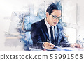 Close-up business man watercolor paint background. 55991568