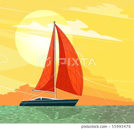 Sailing ship banner in cartoon style 55993478