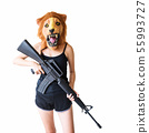 woman with lion mask hold m16 gun 55993727