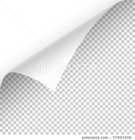 Curled Page Corner With Shadow On Transparent Stock