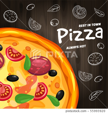 Pizza Pizzeria Italian template flyer baner with ingredients and text on wooden background fast food 55993920