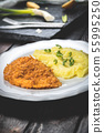 Chicken steak or schnitzel with mashed potatoes 55995250