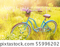 Vintage bicycle with basket full of flowers standing in the field 55996202