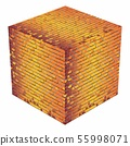 A cube made of orange bricks 55998071
