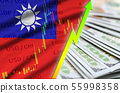 Taiwan flag and chart growing US dollar position 55998358
