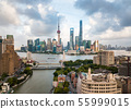 Shanghai skyline aerial view with skyscrapers 55999015