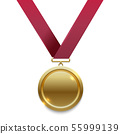 Champion gold medal on red ribbon 55999139