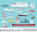 Big set of sea boats and little fishing ships. Sailboats flat vector icons 55999269