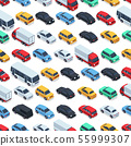 Urban cars seamless texture. Vector background. Isometric cars 55999307