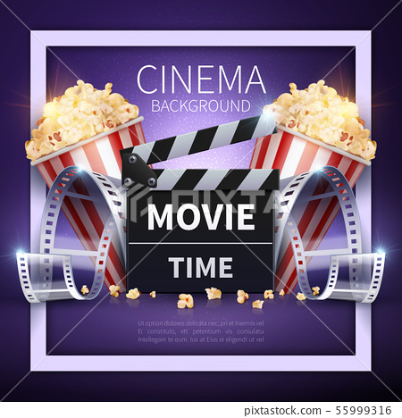 Cinema vector poster. Online movies and entertainment industry background 55999316