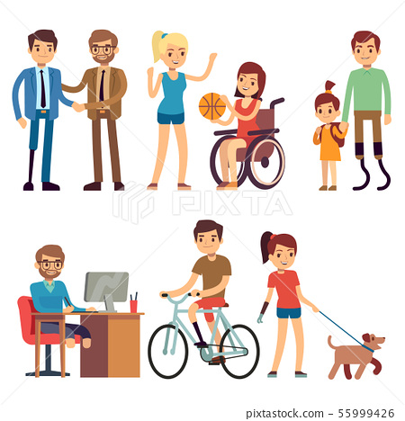 Disabled young woman and man in in day routine activities vector cartoon characters set 55999426